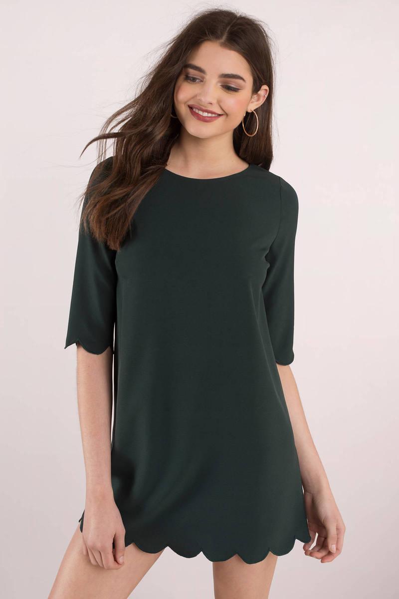 ce32087d33f Green Shift Dress - Scalloped Shift Dress - Petite Green Dress -  31 ...
