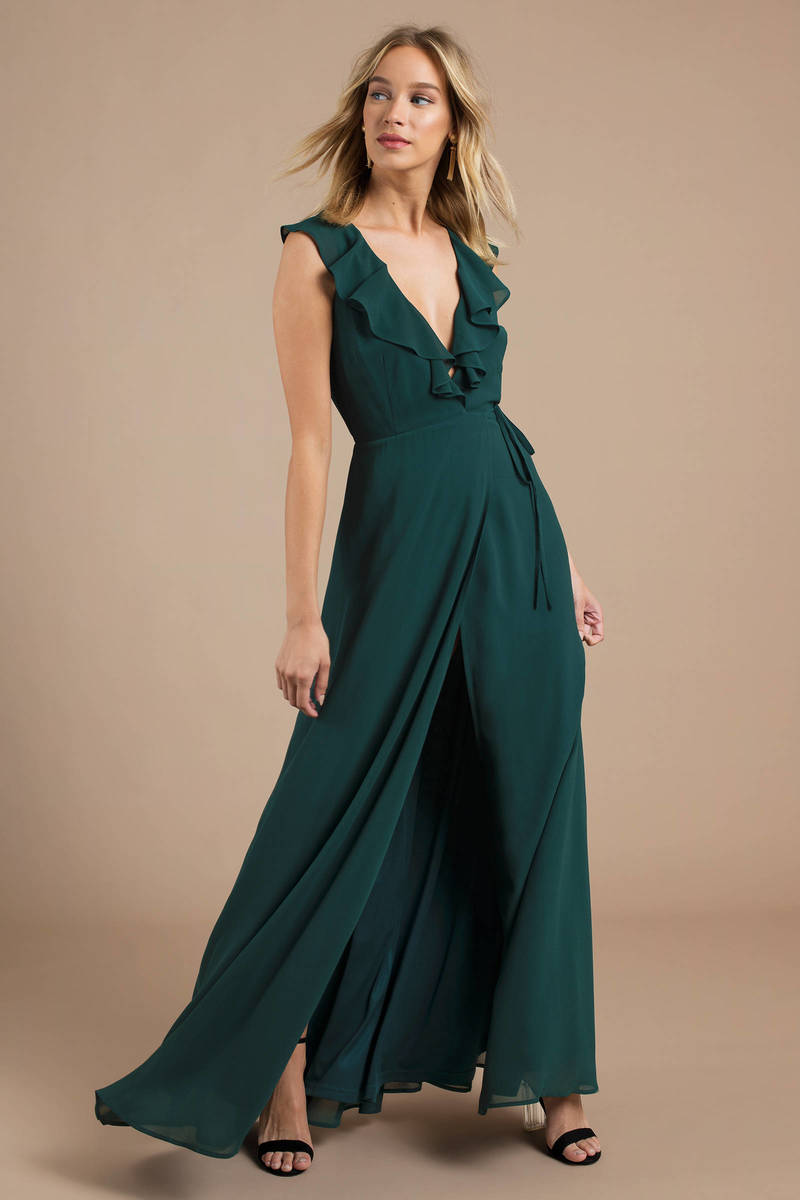d9af4a060834 Green Maxi Dress - Surplice Dress - Green Ruffle Maxi Dress -  47 ...