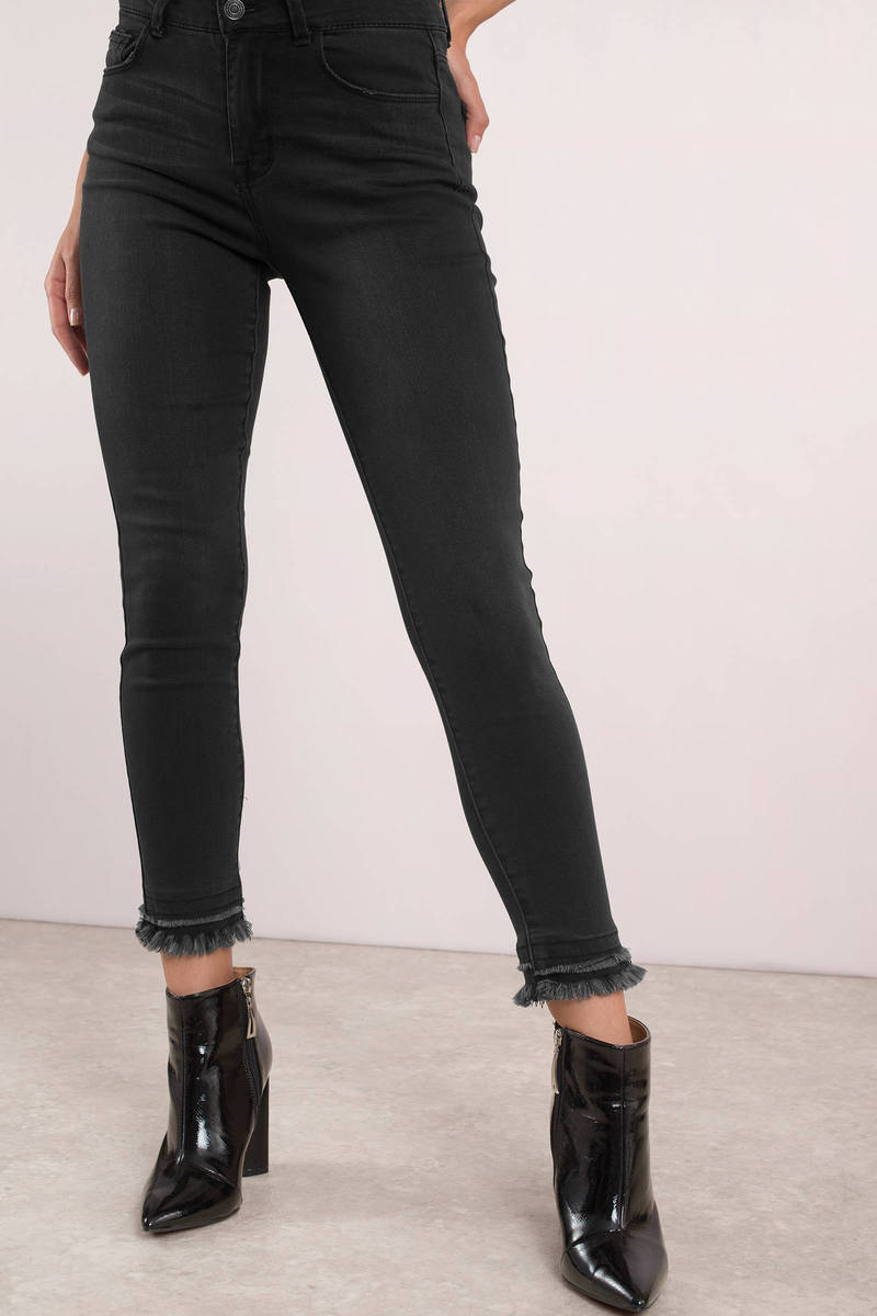 Downtown Faded Black High Waisted Double Hem Jeans