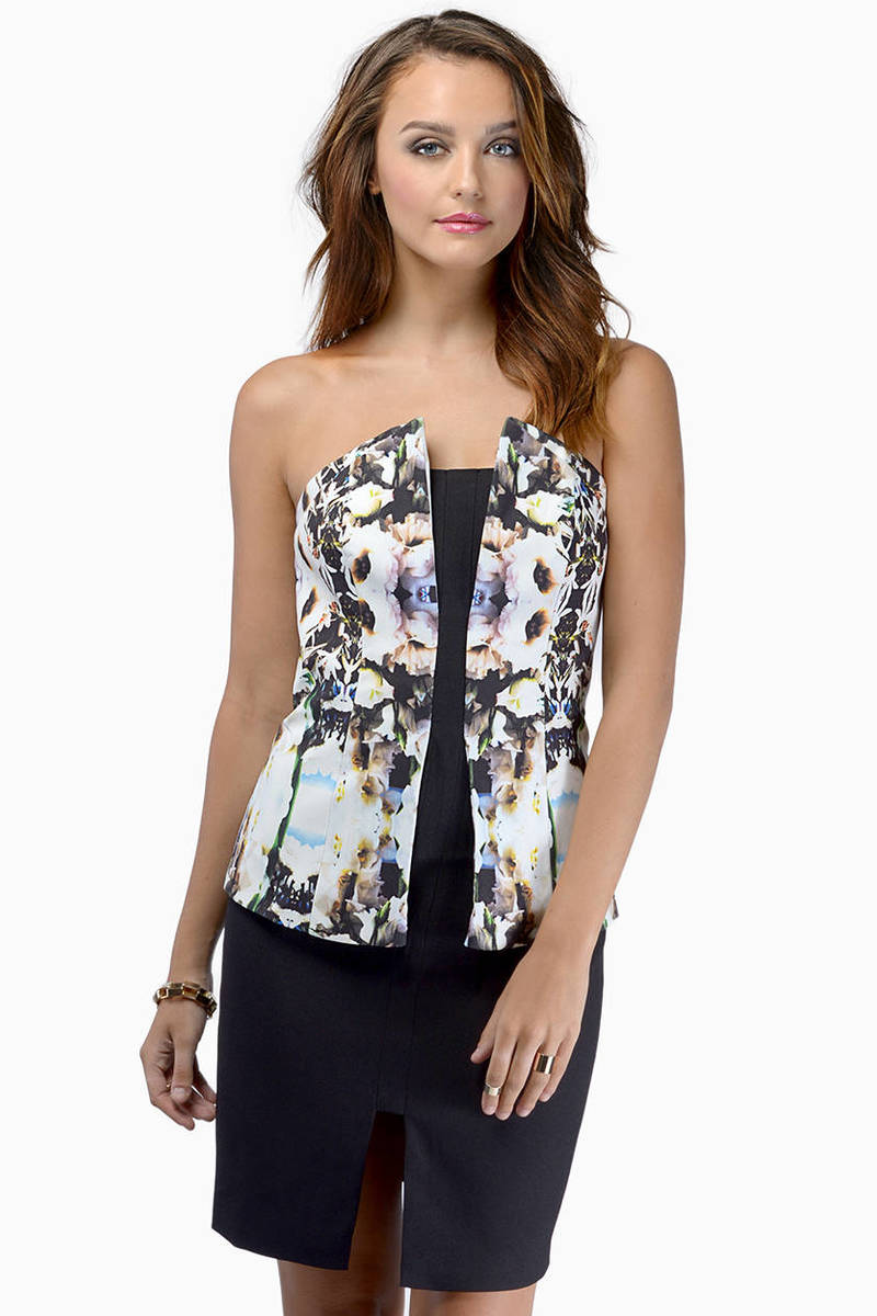 Finders Keepers Finders Keepers One Step Ahead Floral Print & Black Floral Bodycon Dress
