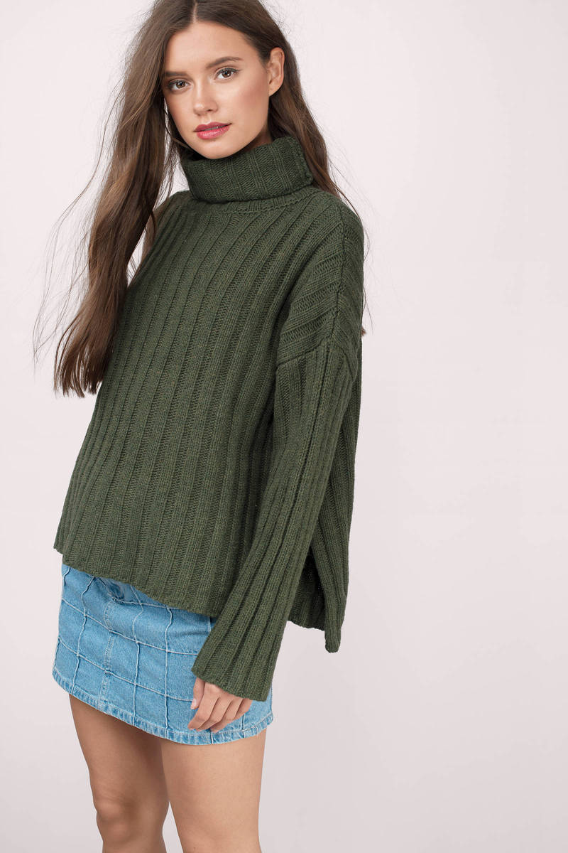 Joa Joa Bundle Up Slit Forest Green  Knitted Sweater
