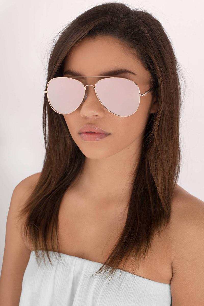 Suki Gold And Pink Aviator Sunglasses