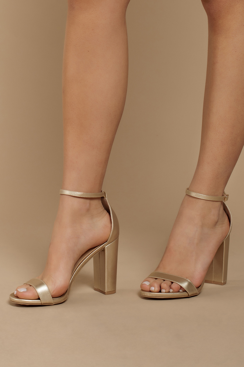 a95539bebea Annabel Gold Ankle Strap Heels -  62