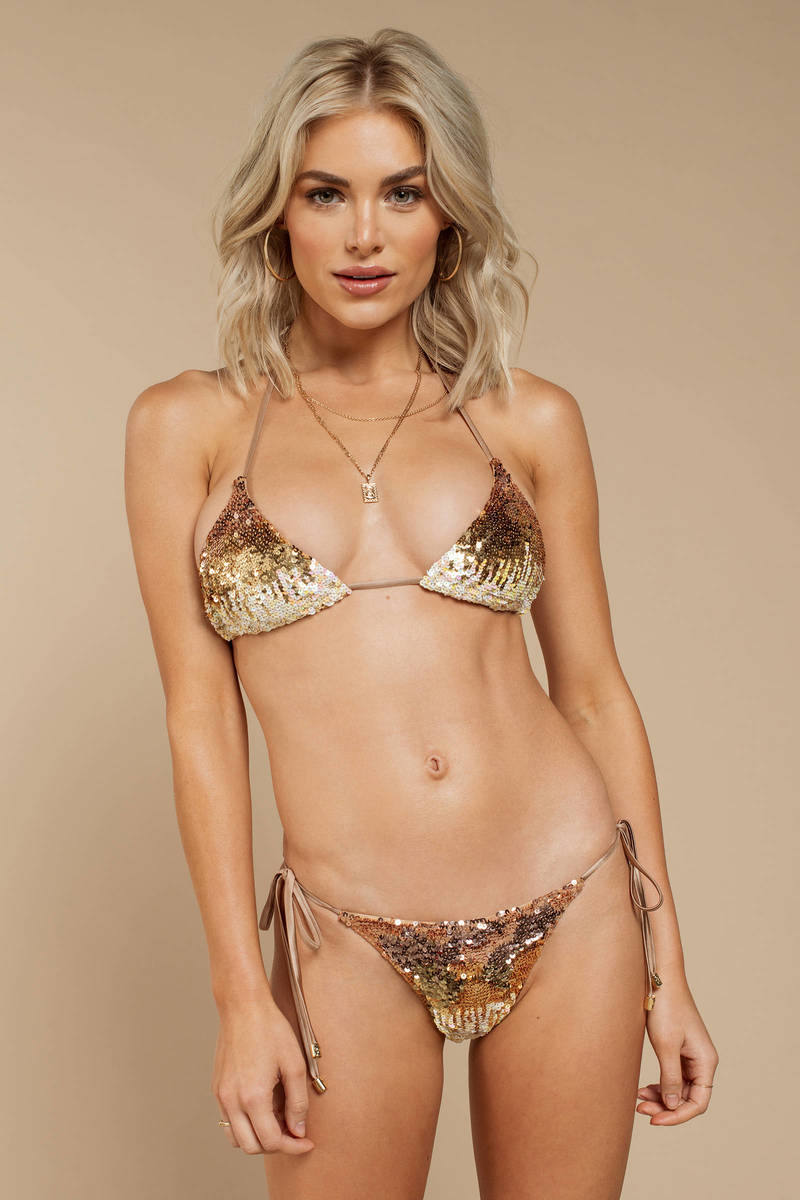 ad185e33262 Beach Bunny Ariel Gold Side Tie Bikini Bottom - $78 | Tobi US