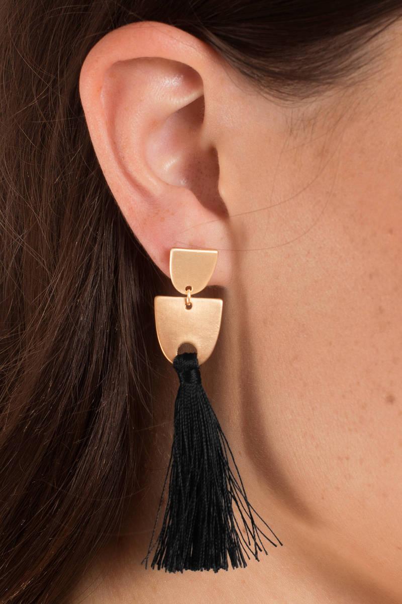 Krystal Gold Black Tassel Earrings