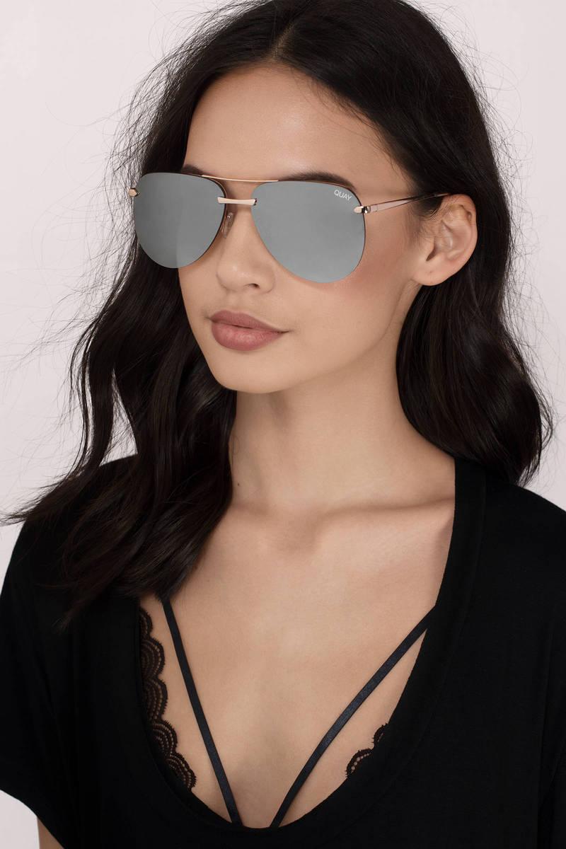 QUAY Quay The Playa Gold & Brown Aviator Sunglasses