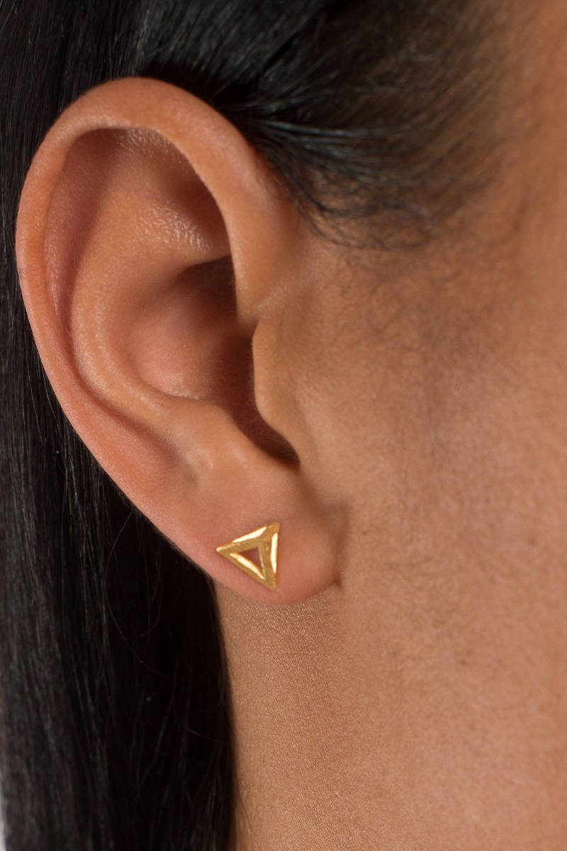 Cairo Gold Pyramid Stud Earrings