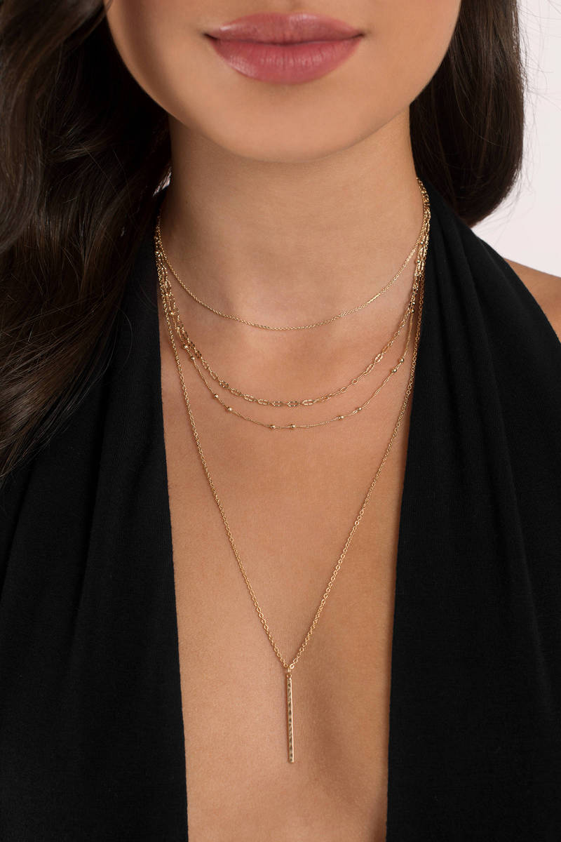 Charlotte Gold  Layered Lariat Necklace