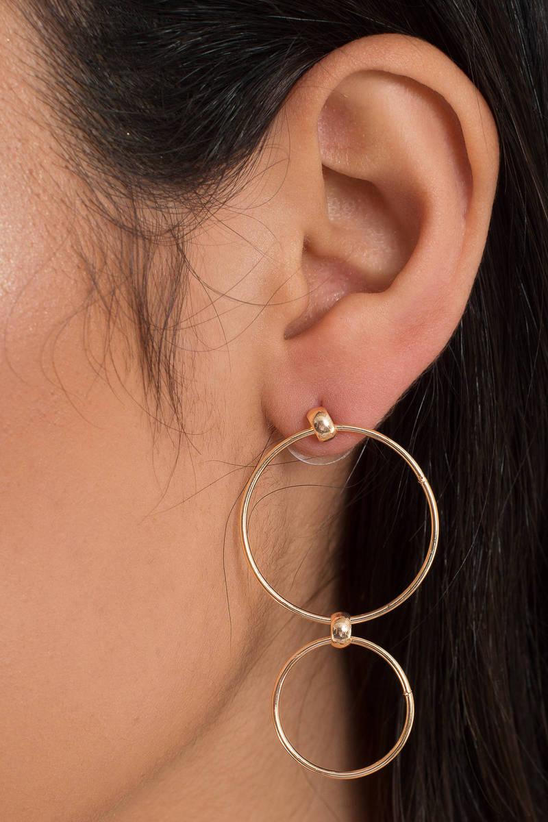 Circular Motion Gold Dangle Earrings