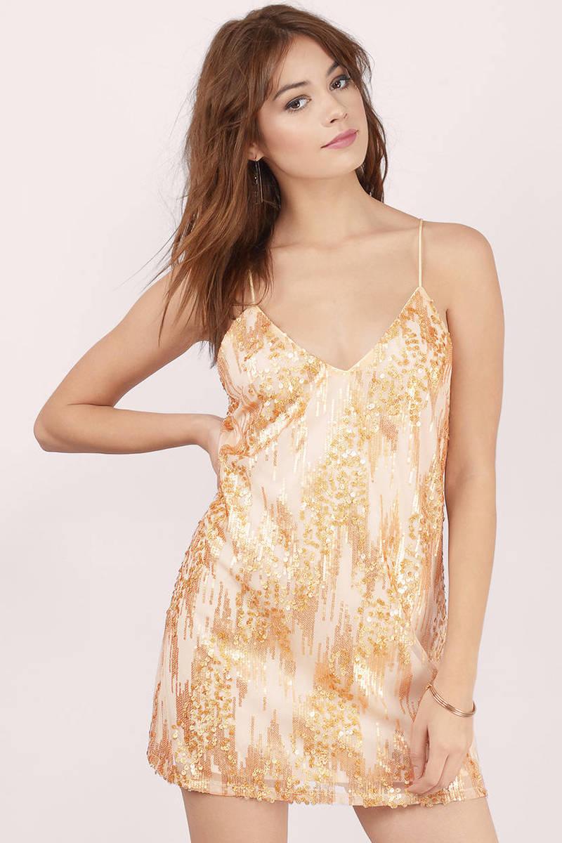 City Lights Gold Sequin Shift Dress