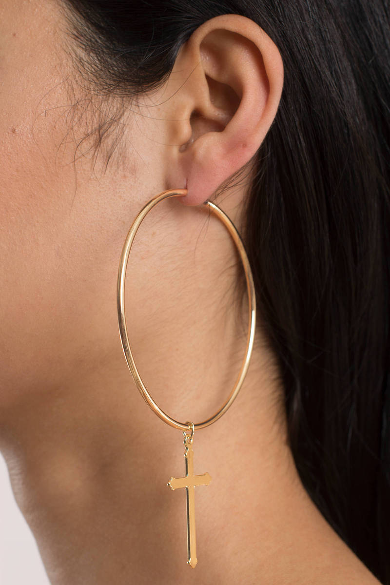 Cross Over Gold Hoop Earrings
