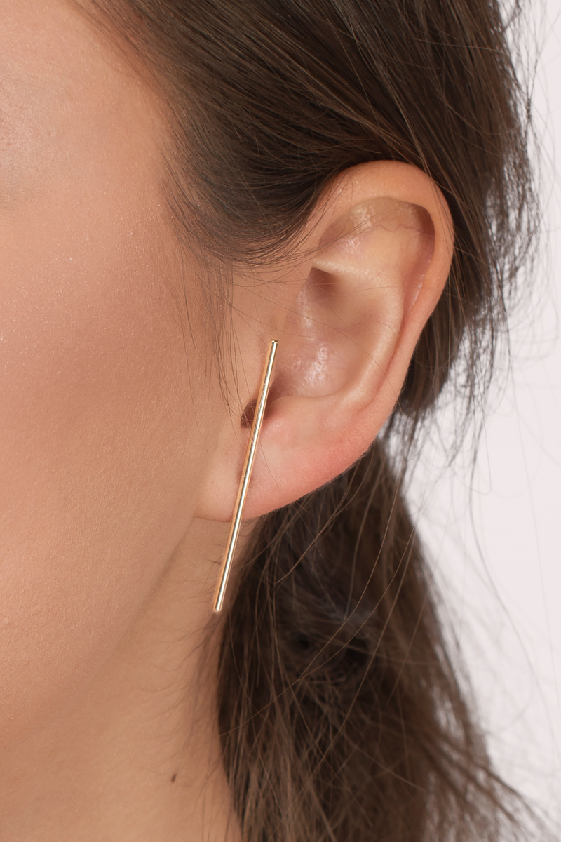 Don't Know Anymore Gold Bar Earrings
