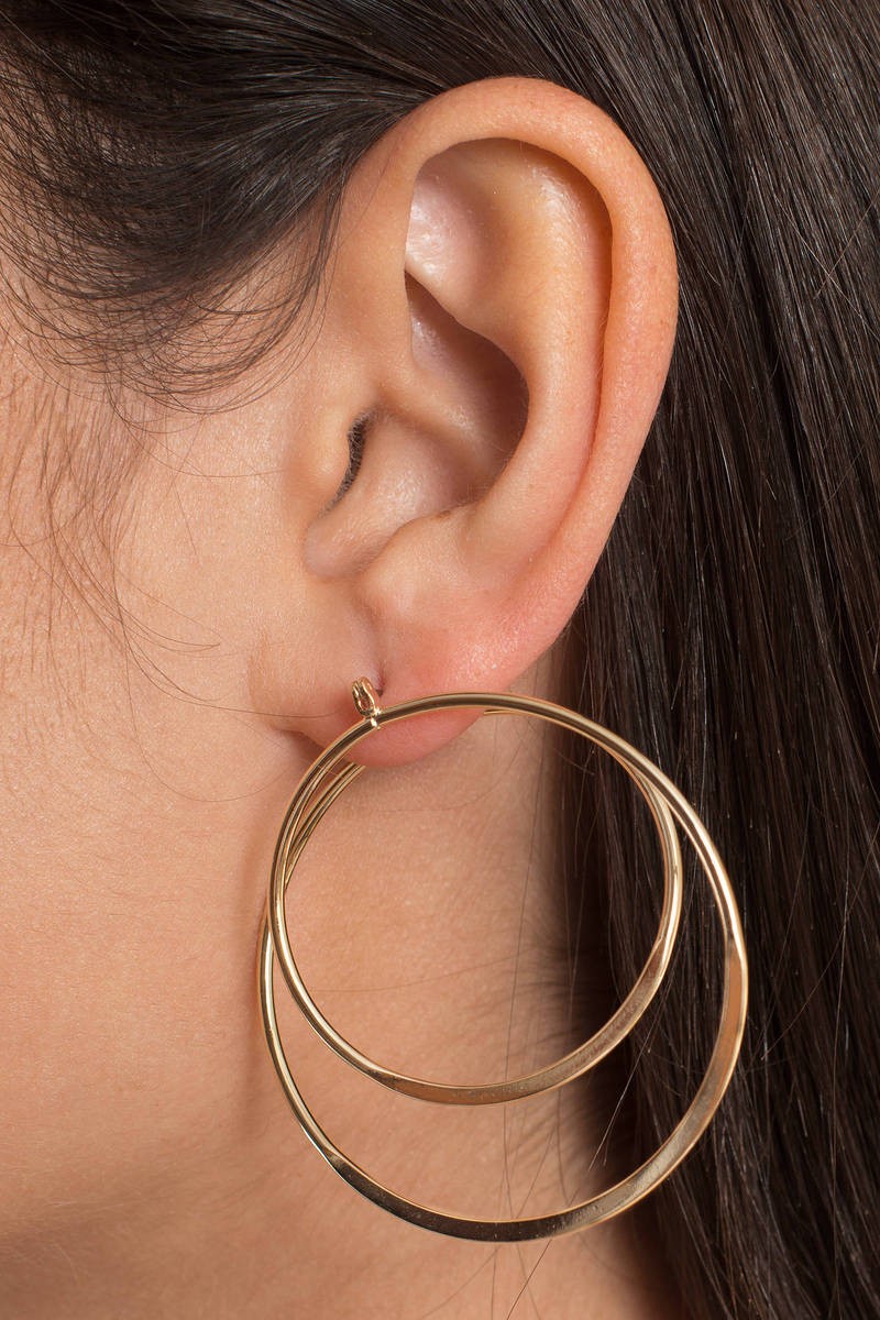 Double Trouble Gold Hoop Earrings