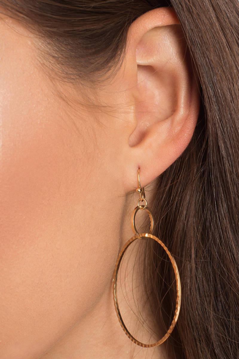 Drop It Hoop Gold Earrings