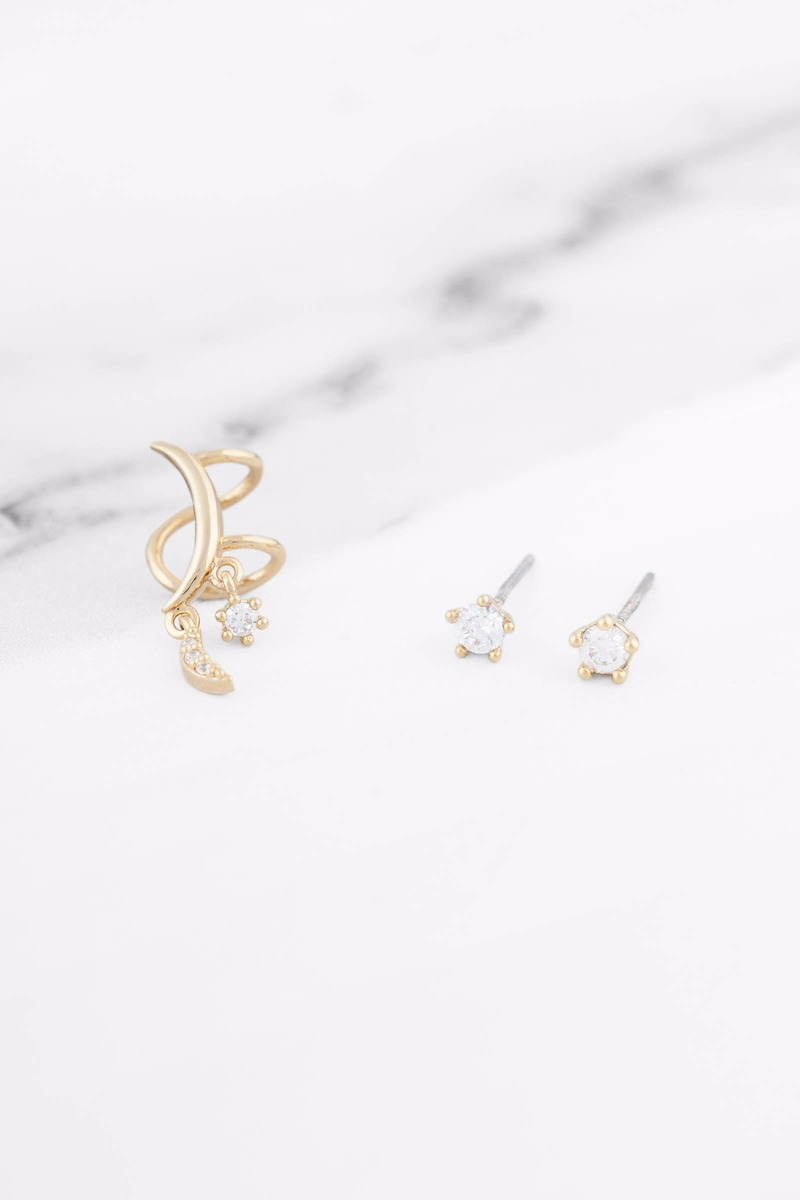 Elaine Gold Ear Cuff Earring Set