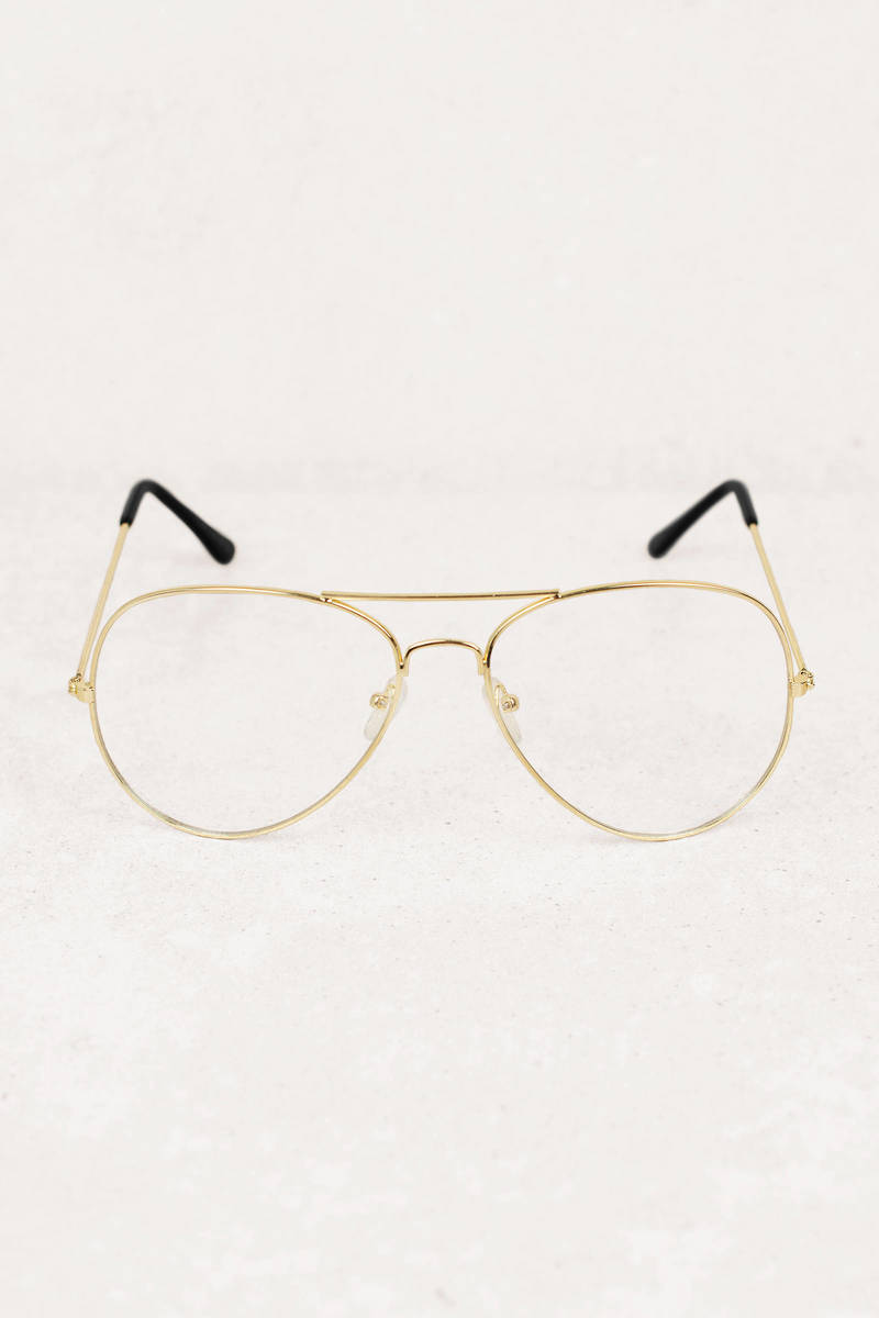 ab6705e578e Gold Reader Glasses - Non-Prescription Glasses - Gold Oversized ...