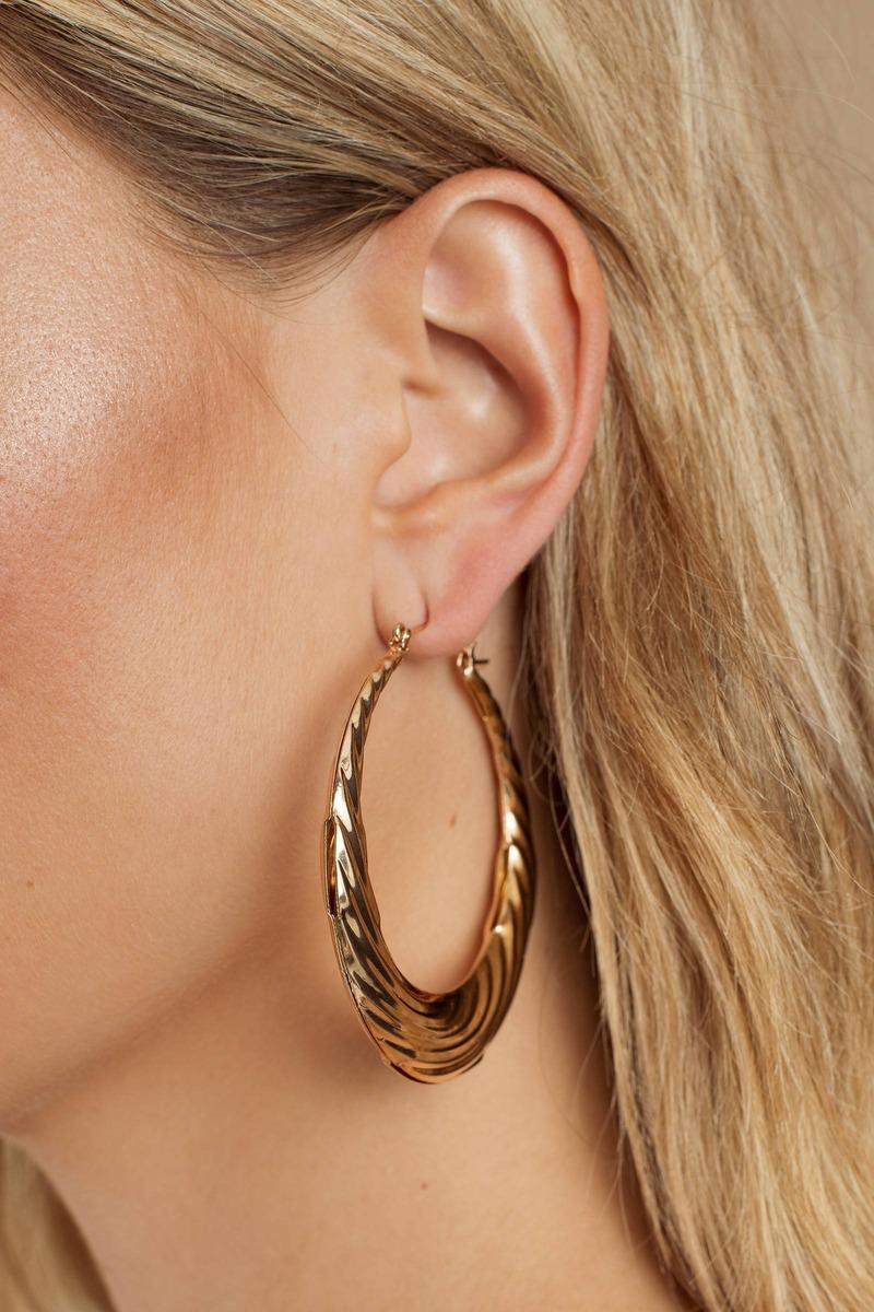 1e4523edeb7d5f Gold Earrings - Hoop Earrings - Gold Chunky Earrings - Statement ...