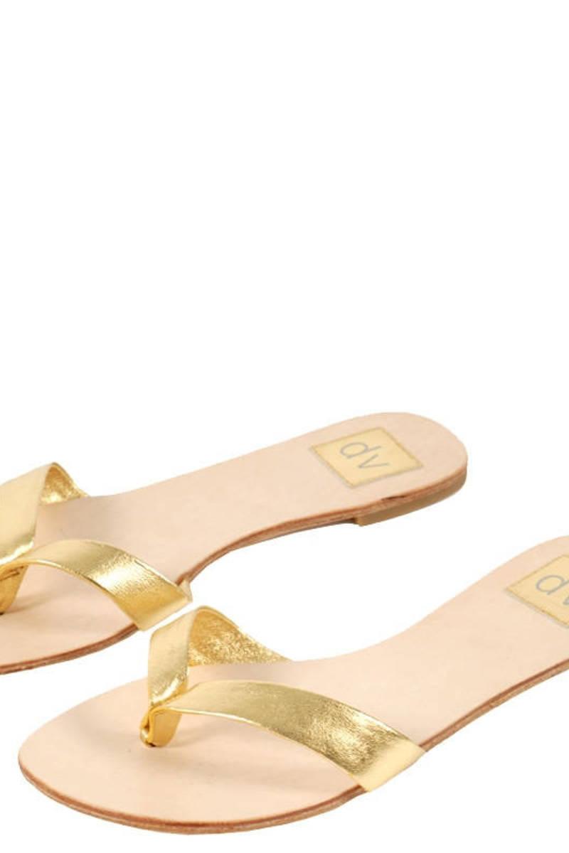 Giant Gold Studded Thong Sandal Black