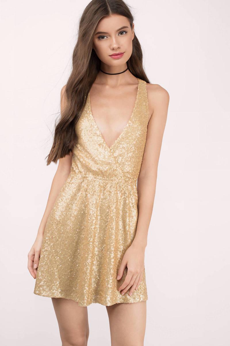 Glamour Gold Sequin Skater Dress