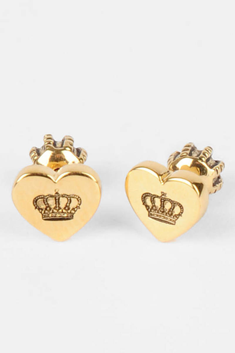 Juicy Couture Gold Heart Crown Stud Earrings