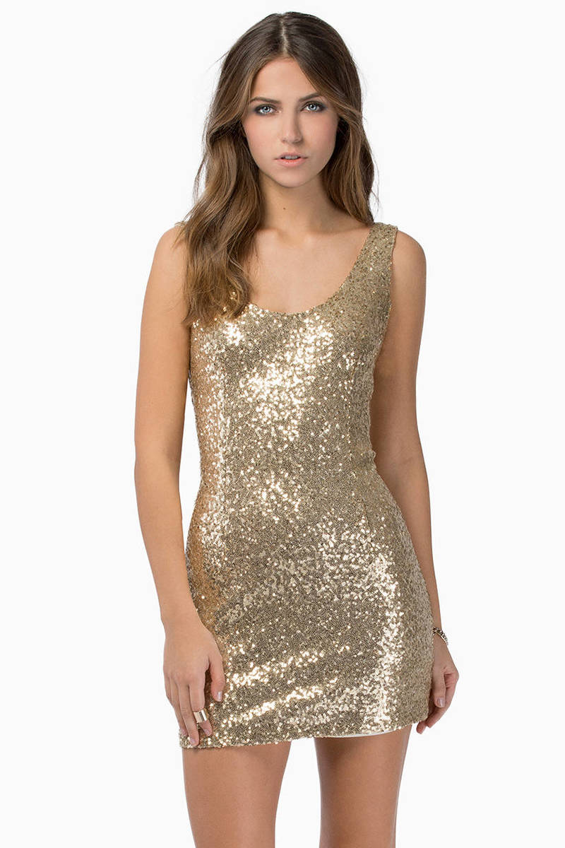 Got Your Back Matte Gold Sequin Bodycon Dress