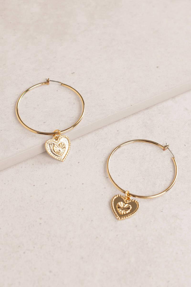 Hollow Heart Gold Hoop Earrings