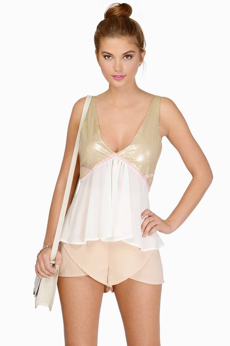 Show It & Glow It Gold & Ivory Tank Top