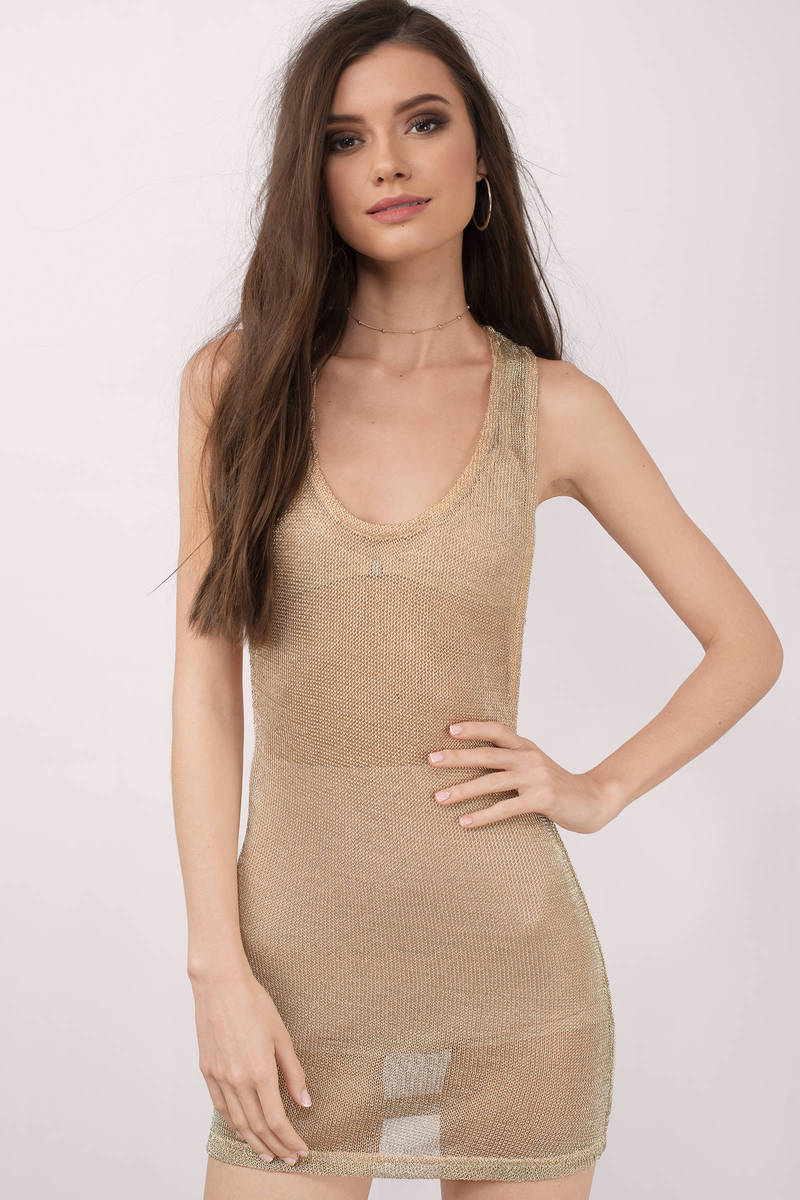 Jojo Gold Metallic Mesh Bodycon Dress