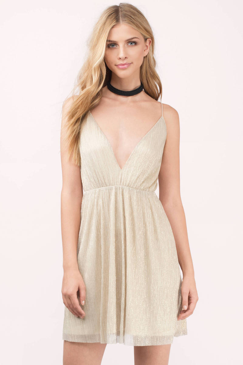 Meadow Accordion Gold Skater Dress