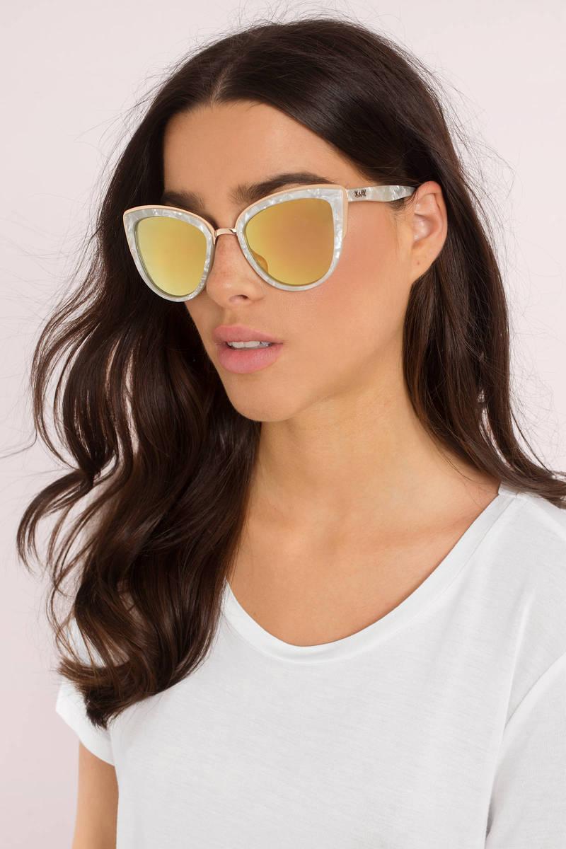 QUAY Quay My Girl Gold Mirrored Sunglasses