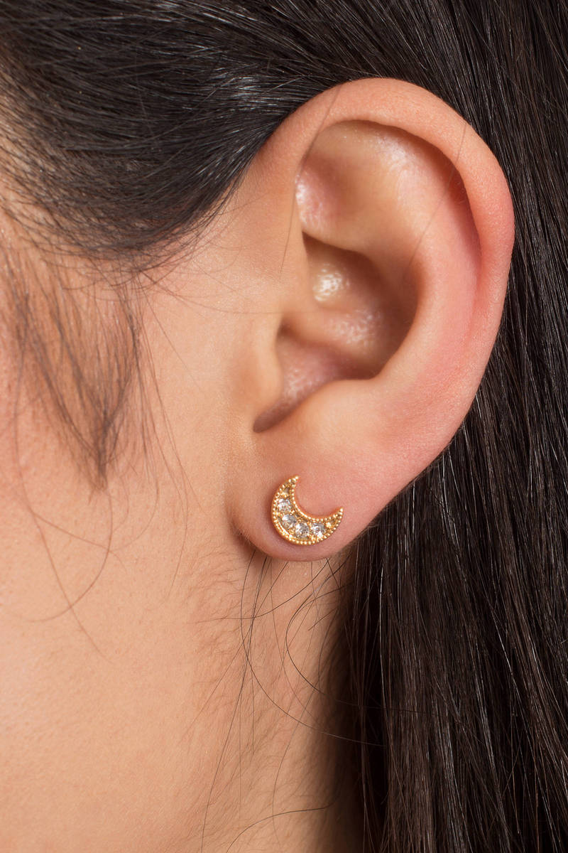 Out Of This World Gold Stud Earrings