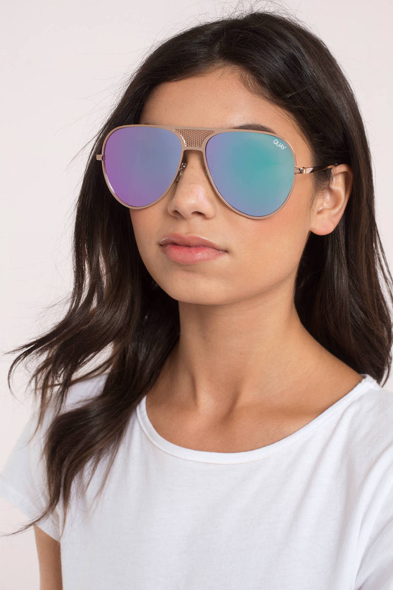 Quay X Kylie Iconic Gold Purple Sunglasses 38 Tobi Us
