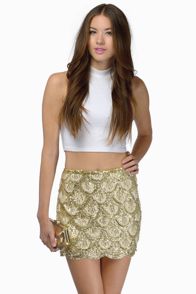 Cute Gold Skirt - Sequined Skirt - Sparkly Skirt - Gold Skirt - $17.00