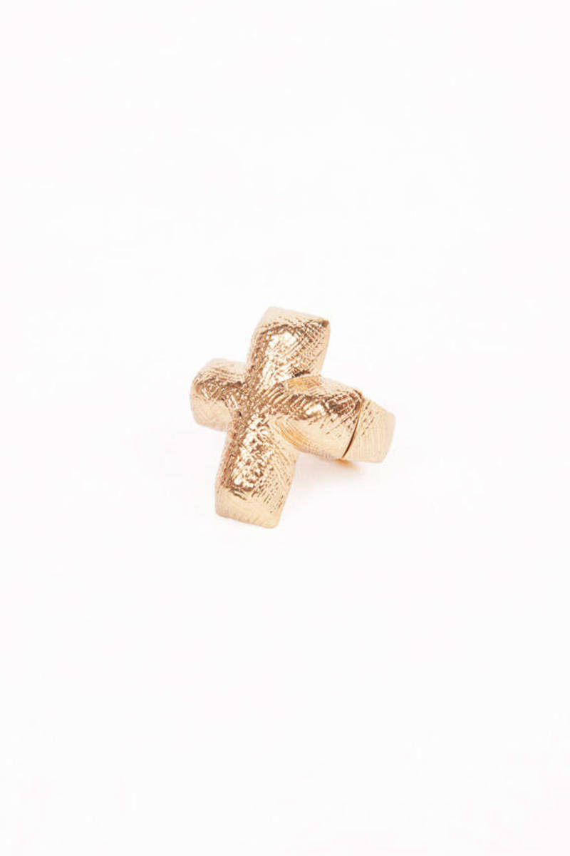 Scratched Cross Ring