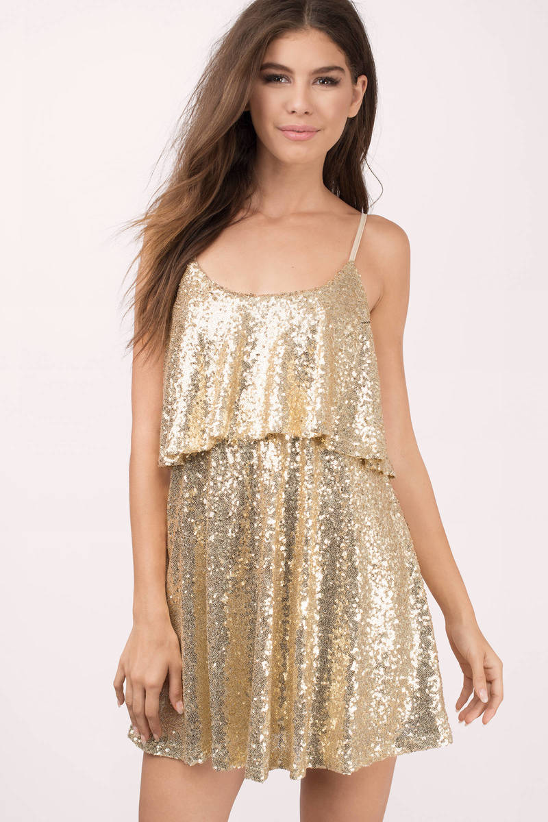 5fe0bae10 Cute Gold Dress - Sequin Dress - Gold Glitter Top - Skater Dress - C ...