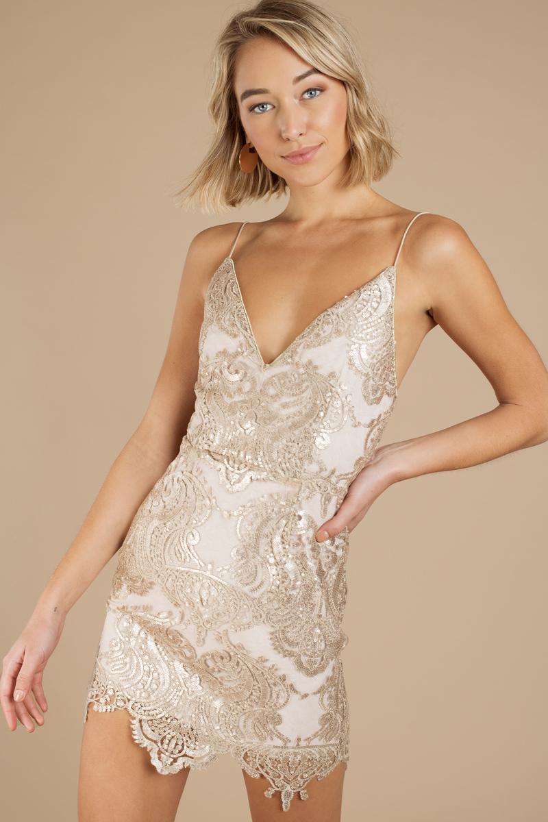 e7428240e102 Lovely Gold Bodycon Dress - Cami Dress - Golden Colored Dress - $43 ...