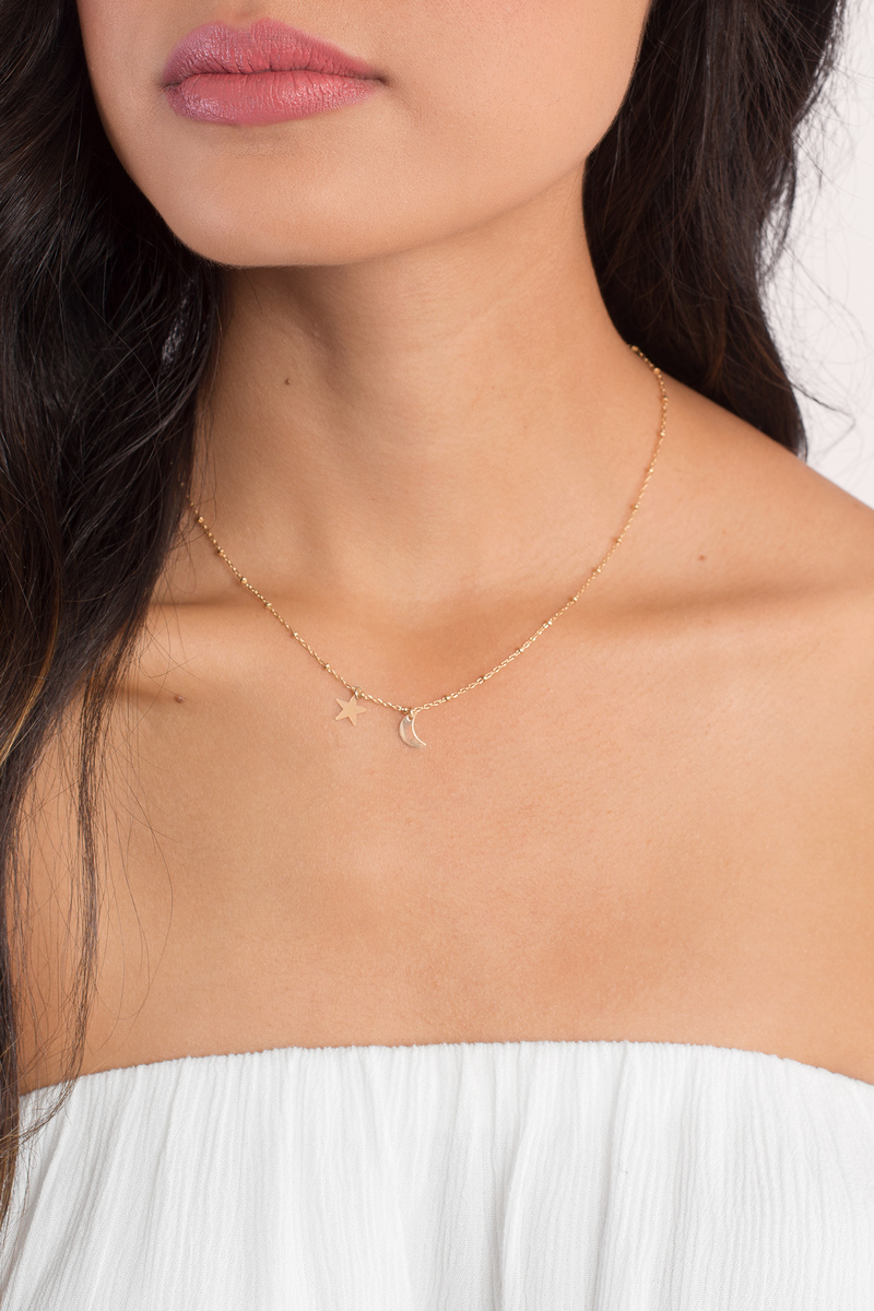 Amarilo Siblings Moon And Star Necklace