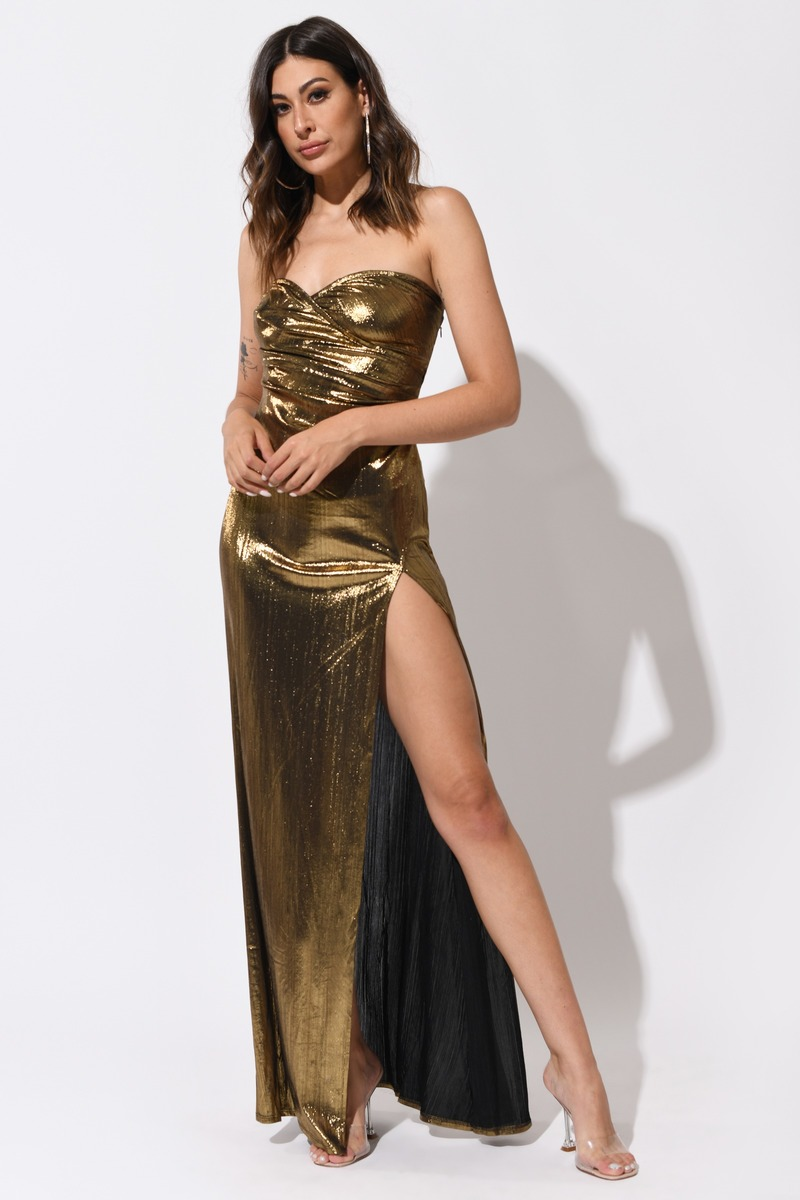 Gold Maxi Dress - Slit Maxi Dress - Gold Gown - Gold ...