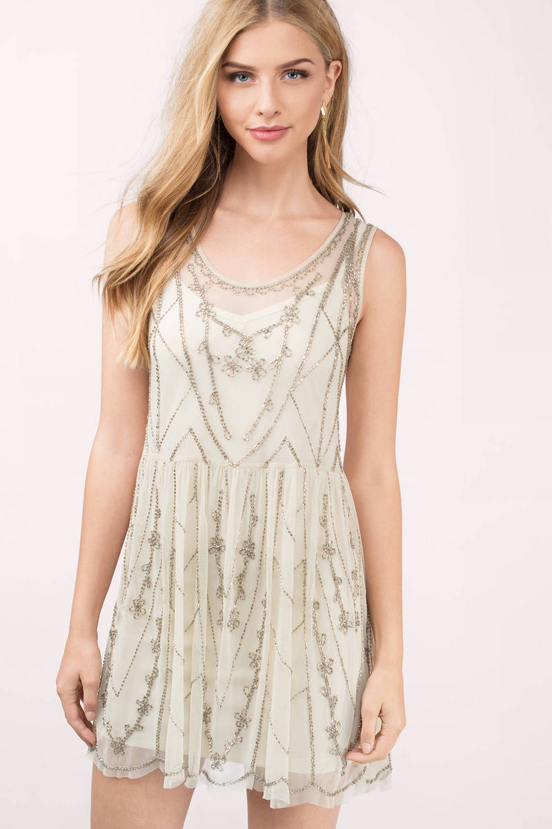 Raga Raga Star Gold Chevron Shift Dress