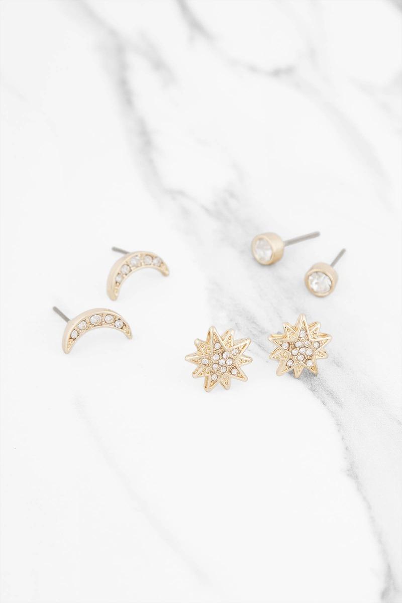 9de87c56c Starburst Gold Rhinestone Earring Set - € 5 | Tobi NL