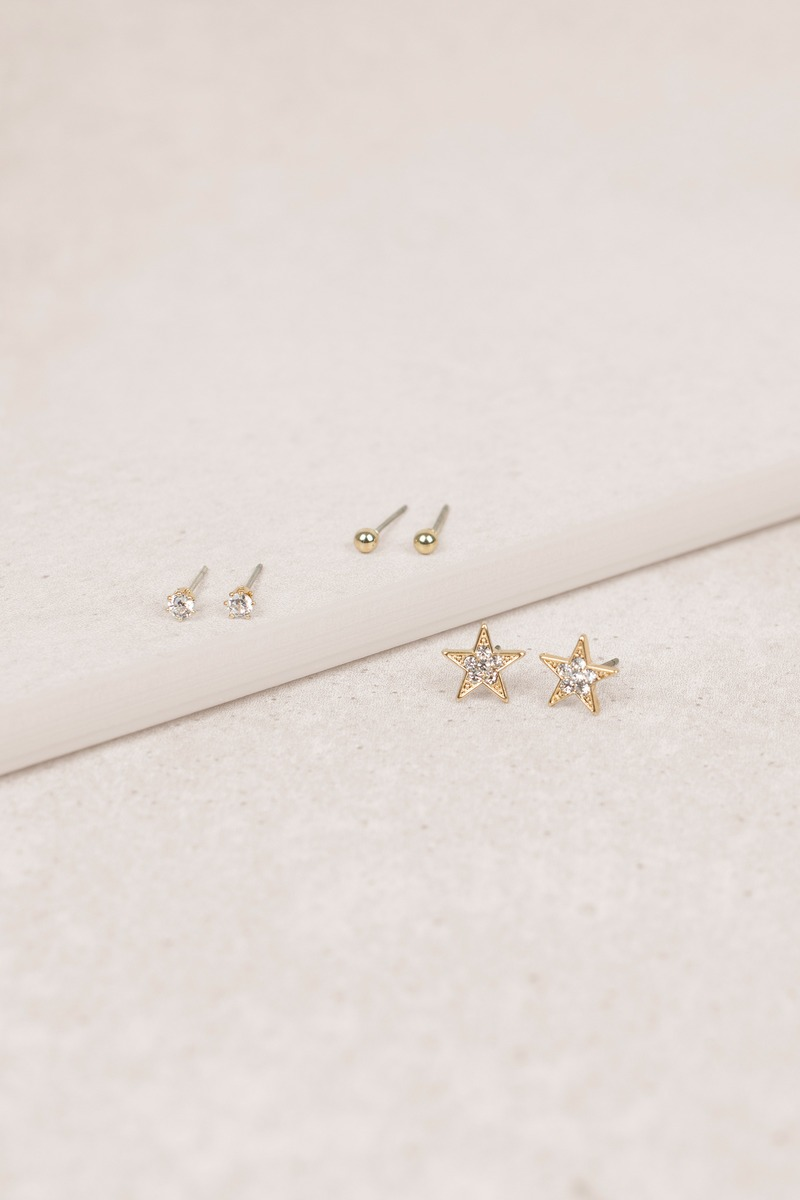 Starlie Gold Stud Earring Set