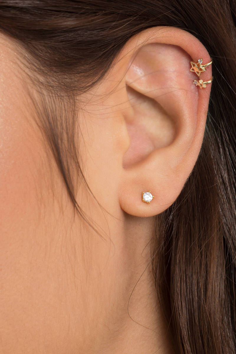 Starry Eyed Gold Ear Cuff