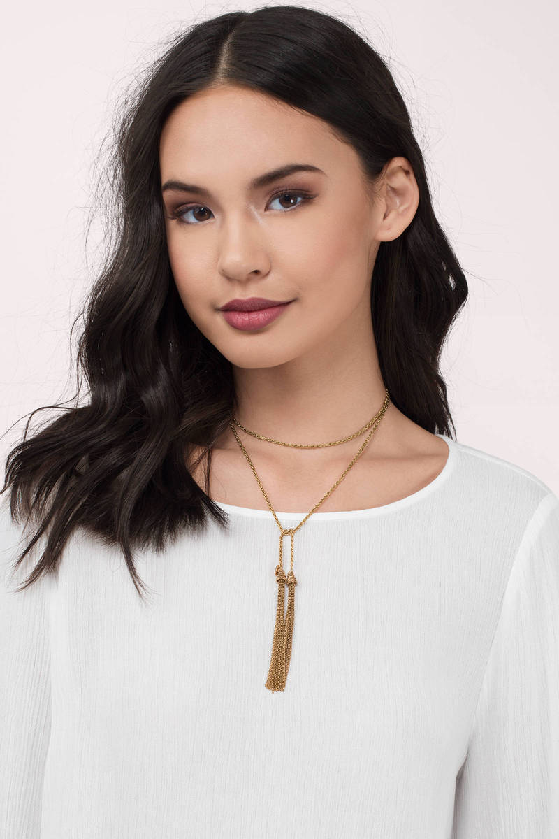 Vanessa Mooney The Keiko Gold Lariat Necklace