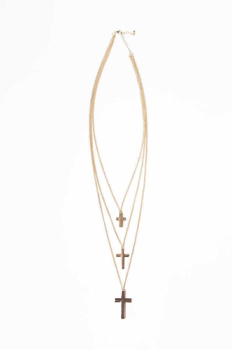 Three Tier Cross Necklace