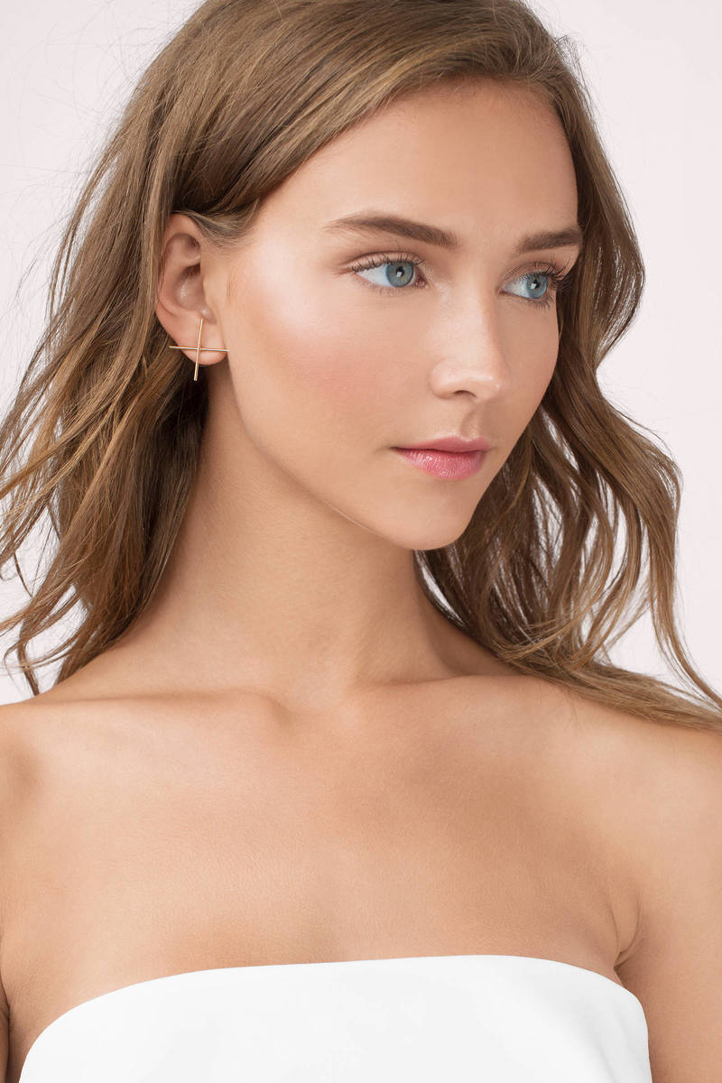 X Marks The Spot Gold Earrings