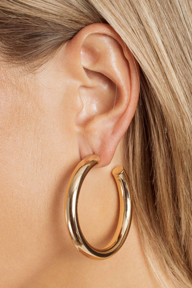 8755c3ba4fcd57 Yes Or No Gold Chunky Hoop Earrings - £22 | Tobi GB