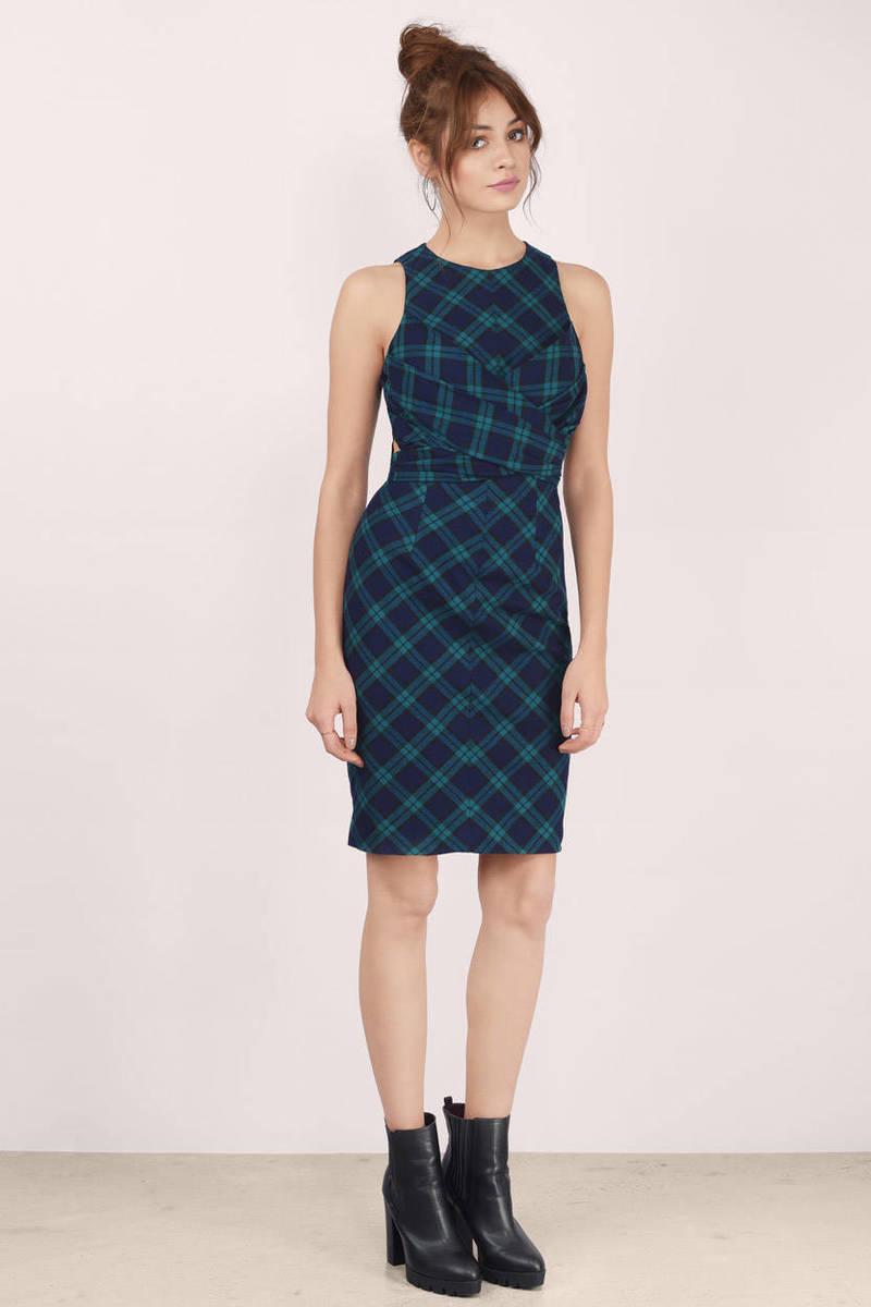 Cute Green & Black Midi Dress - Green Dress - Back Tie Dress - $20.00