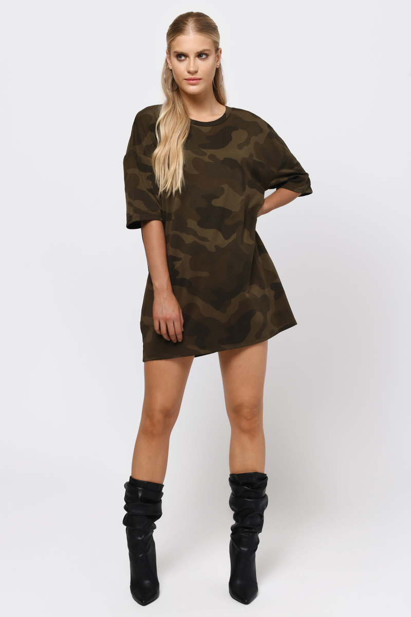 Can't Find Me Green Camo Shift Dress