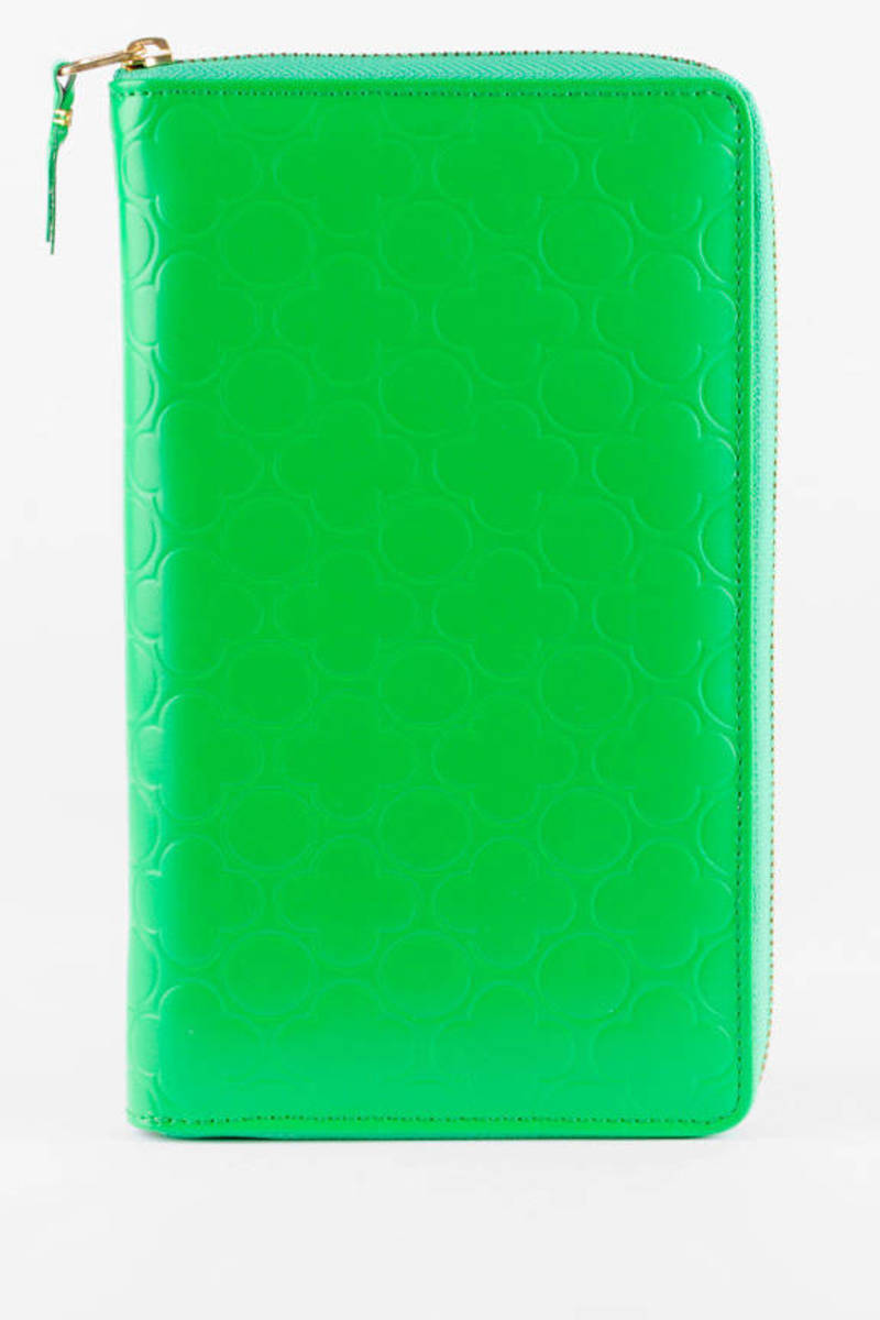 comme des garcons green clover color embossed large zip wallet - Clover Color