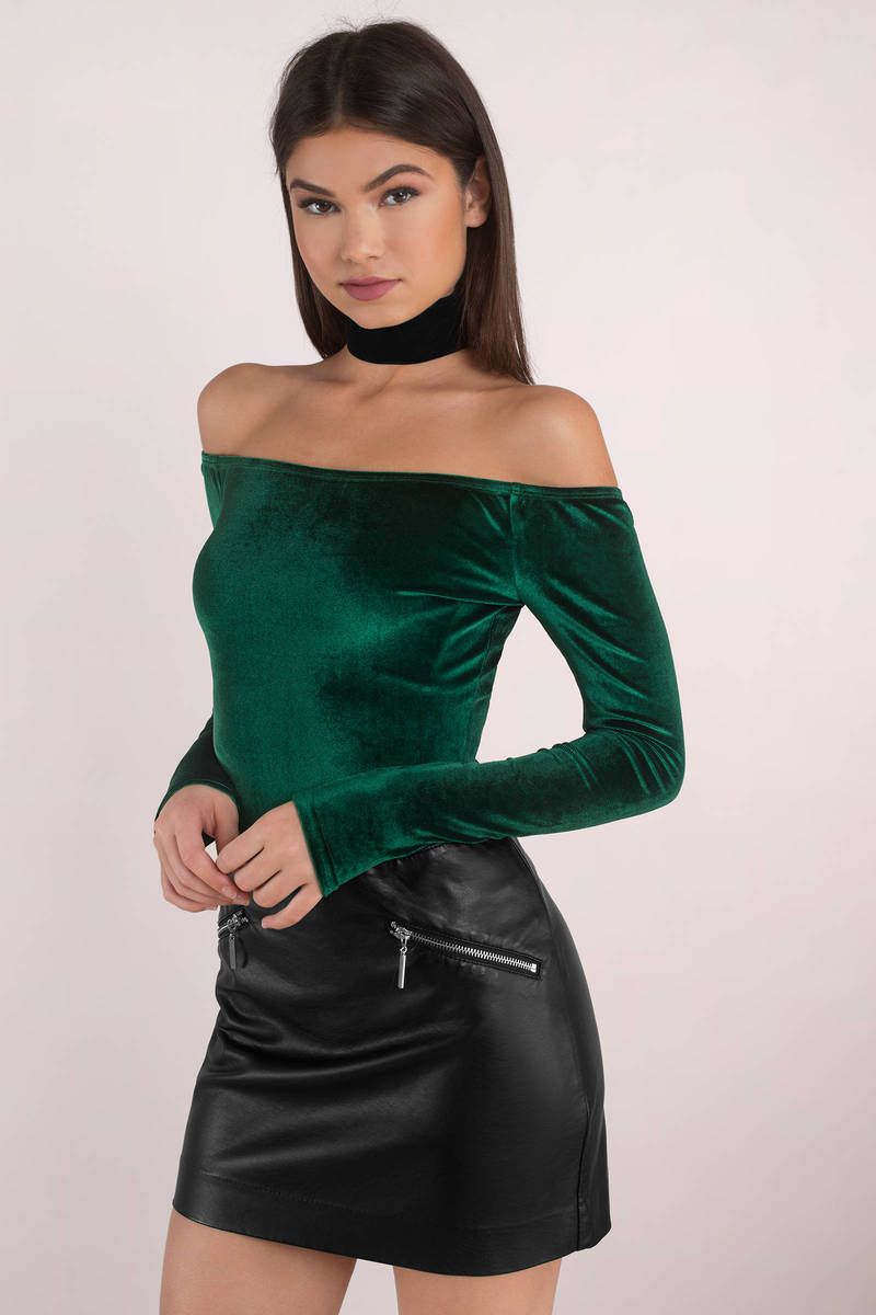 5f98510fb0bce Green Bodysuit - Velvet Bodysuit - Emerald Green Top - Bardot ...